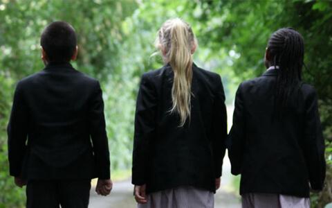 Pupils walking along tree lined path