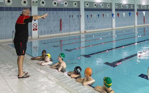 Pupils in school pool
